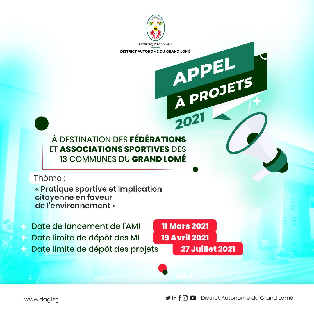 Appel à projets 2021 à destination des fédérations et associations sportives des communes 13 communes du grand Lomé